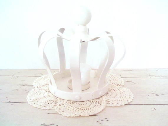 White Crown Votive Candle Holder French Country White Cottage Chic Wedding Decor Table Decoration Home Decor
