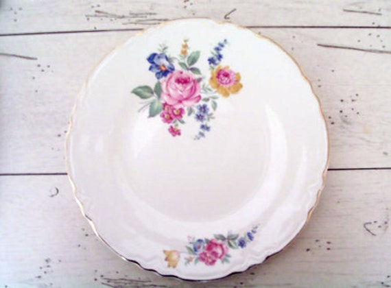 Vintage Dinner Plate Hazel Pattern Scio Pottery Co. Hand Painted Roses White Cottage ECS