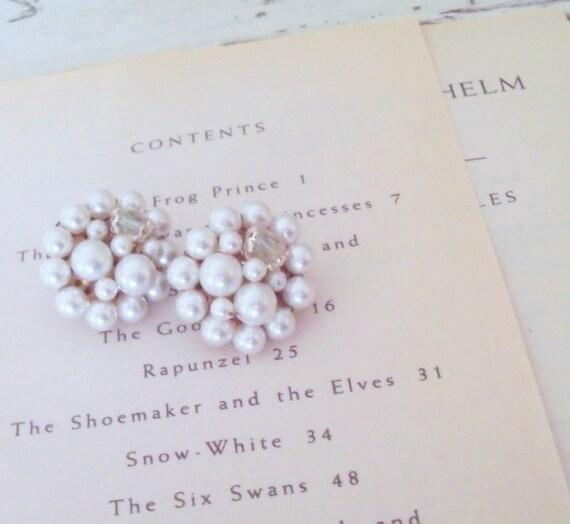 Vintage Bride Pearl  Earrings Vintage Beaded Clip On Earrings Cluster Earrings  Bridal Vintage Bridesmaid