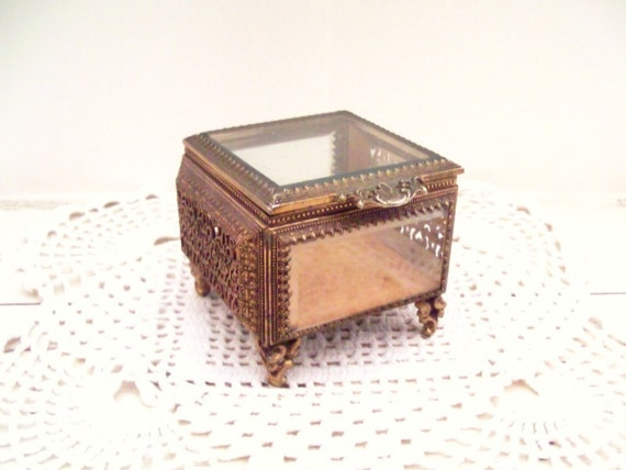 Jewelry Casket Box Beveled Glass Ormolu Jewelry Box Vintage