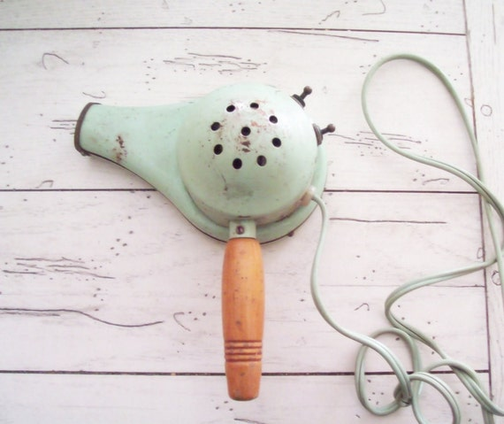 Vintage Blow Dryer Mint Green Hair Dryer Hand Held Handy