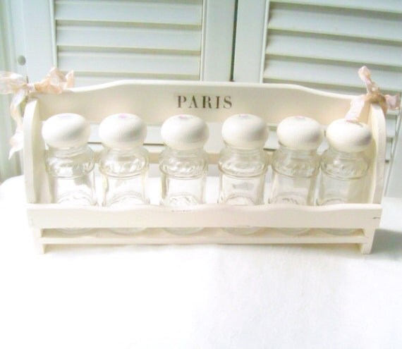White Wooden Spice Rack and Bottles Cottage Chic  White Hand Painted Rose Buds Cottage Kitchen Decor