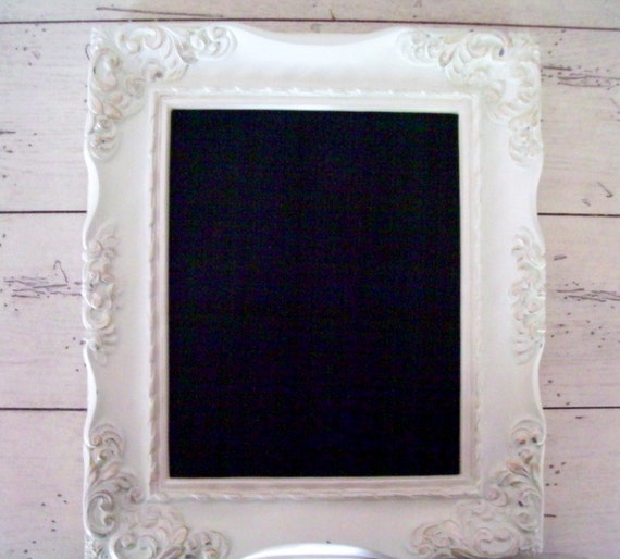 Chalkboard Frame White Ornate Wedding Distressed Frame Decor Home Decor Shabby Cottage Chic