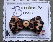 Leopard Print and Black and Tan Button Accent Bow Hair Clip