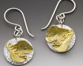 ginkgo earrings, silver earrings,  gold earrings, ready to ship, ginkgo leaves, mixed metal, eco friendly earrings, made in america