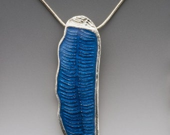 spring blue silver necklace, blue enamel, ready to ship, silver necklace, fern, abstract, blue necklace, handcrafted, made in america