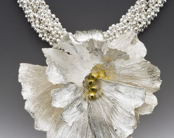Silver flower necklace, wedding necklace, Academy awards, silver flower, fairy tale wedding, red carpet, award winning, ready to ship