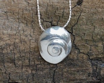 silver shell necklace, surfer jewelry, beach lover, beach wedding, summer pendant, bridesmaid gift, Made in America