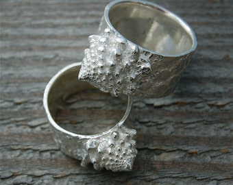 silver ring fractal, vegan jewelry, vegetarian jewelry, gift for chef, gift for gardener, made in america, romanesco, brocoflower awesome