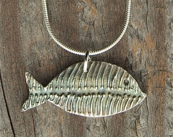 silver fish necklace, March birthday, Pisces birthday, gone fishing, shark, bass, trout, boney, abstract, silver pendant, made in america