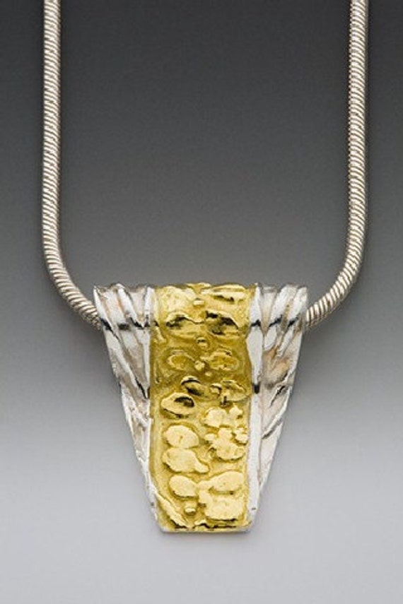 silver gold necklace, made in america, art jewelry, mixed metal necklace, abstract necklace, OOAK necklace, gift for her