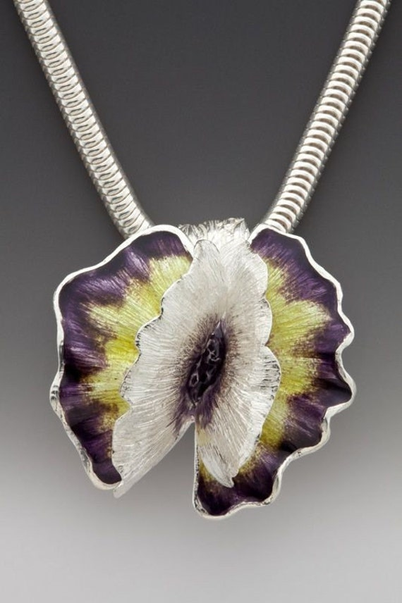 radiant orchid, summer flower, silver and enamel necklace, plum, eco friendly, purple, yellow enamel, statement necklace