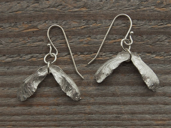 spring maple seed earrings, helicopter earrings, silver earrings, made in america
