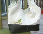 Oatmeal Linen and Green Leather Slouch Tote