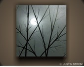 Moonlight-------Original Abstract Painting by Justin Strom Large 24 x 24 Deep Gallery Canvas Made To Order, Sunset Painting, Moon Painting