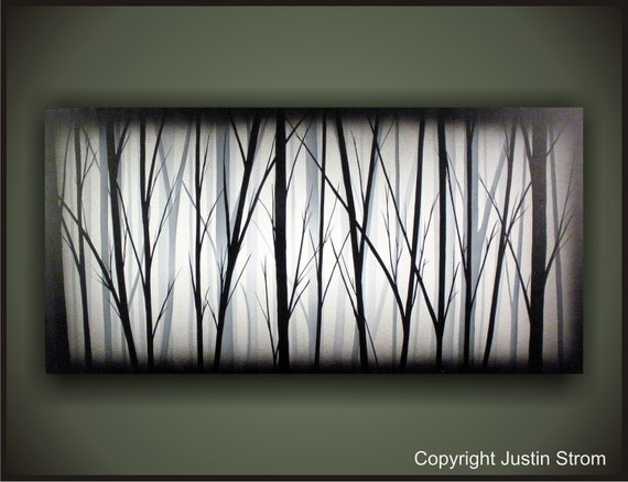 Lost-------Original Abstract Painting by Justin Strom Large 48 x 24 Deep Gallery Canvas Free Shipping US And Canada