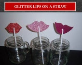 Set of 400 Glitter Lips and Shimmer Mustache Assortment on a Straw Party Favor Set of 400