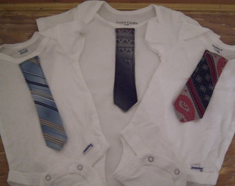 Custom made neck tie onesies made from actual men's neck tie not applique