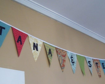 Custom Reusable Fabric Washable Banner Bunting Pennant for Wedding Reception Engagement Anniversary Shower