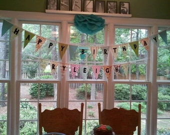 Reusable fabric banner pennant Set of two customized Happy Birthday and name banners