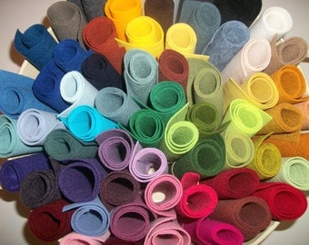 Wool Felt  sheets pack of 20 any colors 9 x 12 sheets