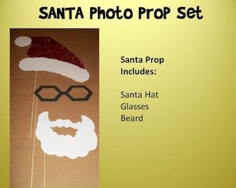 Santa on a stick Photo Prop on a stick mustache on a stick photo prop DIY OR Assembled kit
