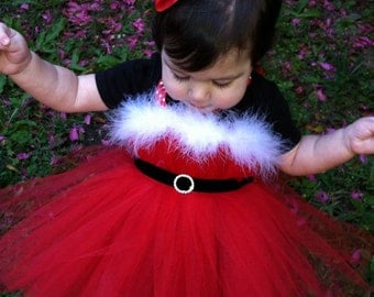 Christmas Tutu Dress Santa tutu for parades pageants and pictures with matching hair bow