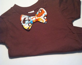 Go Cars fabric Bowtie on brown tshirt for baby or toddler