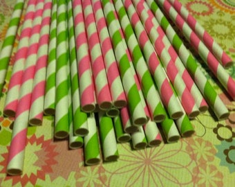 30 Paper Straws.... Pink and Green Striped Paper Straw Mix with free DIY printable flags