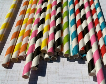 125 Paper Straws.... Your choice of colorsw/ DIY Blank Printables, Retro, Vintage Inspired, Biodegradable