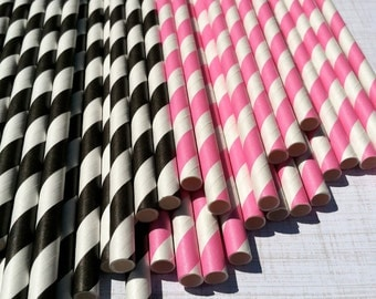 Paper Straws.... Set of 30 Pink and Black Stripe