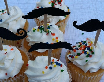Father's Day Mustache Cupcake toppers Set of 24
