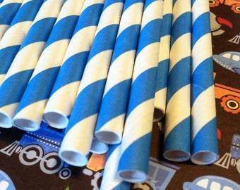 30 Little Boy Blue Stripe Paper Straws.... w/ DIY Blank Printables, Retro, Vintage Inspired, Biodegradable