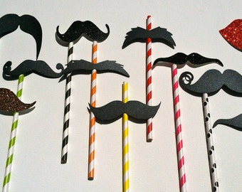 Set of 18 Paper Straw Mustache or Lips on a stick / straw. Photo prop on a stick