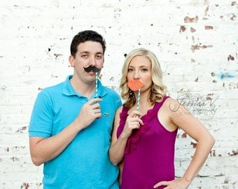 Set of 24 Paper Straw Mustache or Lips on a stick / straw. Photo prop on a stick