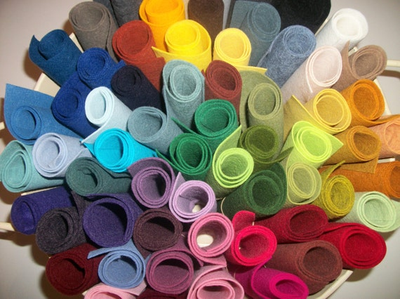 Wool Felt  sheets pack of 60 any colors 9 x 12