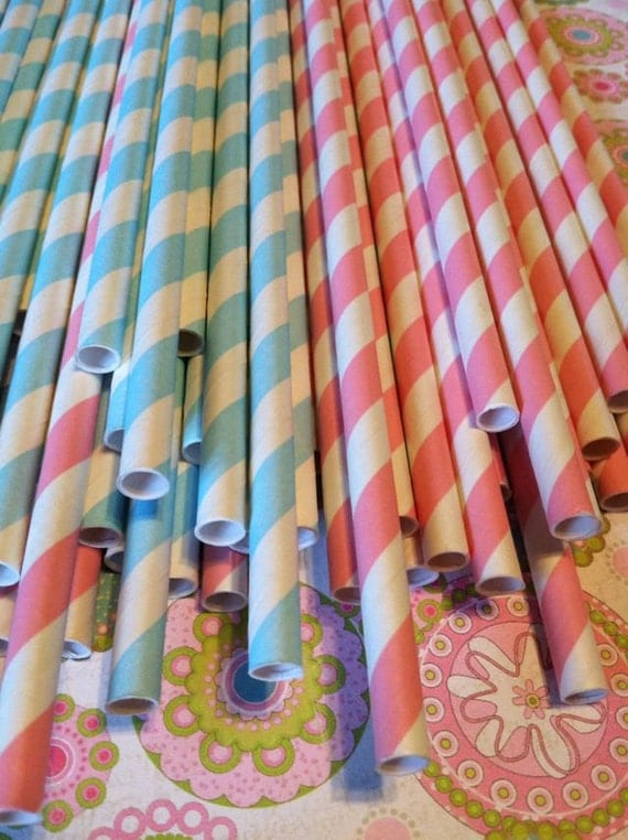 30 Baby Blue and Baby Pink Stripe Paper Straws.... w/ DIY Blank Printables, Retro, Vintage Inspired, Biodegradable