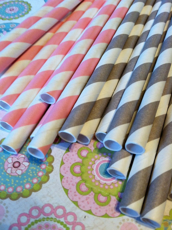 25 Paper Straws.... with FREE DIY Blank Flags, Retro