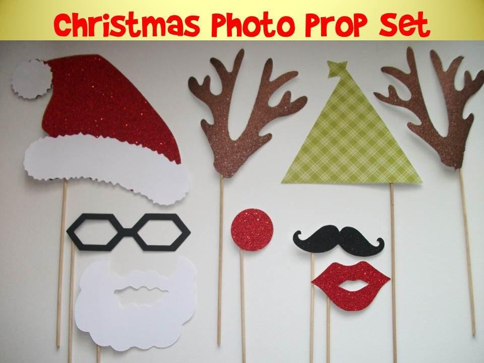 Christmas photo prop set diy or assembled on a stick mustache - Bricolage de noel video ...