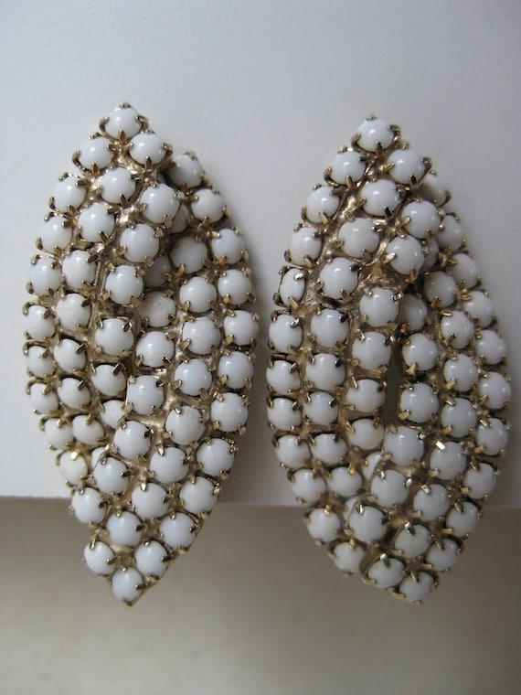 White Milk Glass Earrings Clip Gold Modern