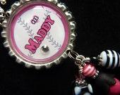 PERSONALIZED Softball Bottle Cap Pendant Necklace/Keychain