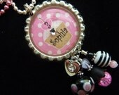 Birthday Girl PERSONALIZED Bottle Cap Pendant Necklace, Zipper Pull W/Heart Charm