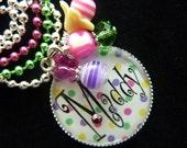 Polka Dot PERSONALIZED Bezel Pendant Necklace/Backpack Zipper Pull