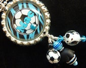 PERSONALIZED Blue Zebra Soccer Bottle Cap Penant Necklace