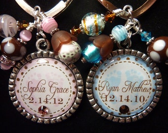 PERSONALIZED Baby Footprints Bezel Keychain/Pendant Necklace-You Choose Color