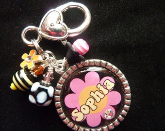 PERSONALIZED Flower Power Bezel Keychain/ Backpack Zipper Pull/ Pendant Necklace