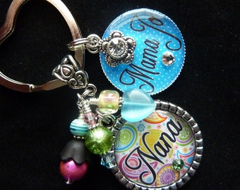PERSONALIZED Nana Mom Grandma Aunt Any Name Title-Your Choice Double Bezel Keychain/Pendant Necklace
