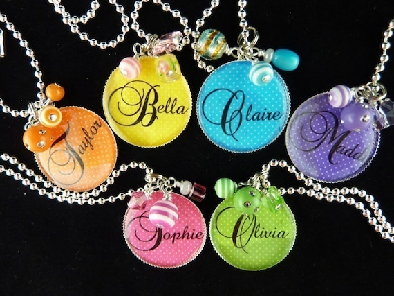 PERSONALIZED Rainbow Colors Bezel Pendant Necklace/Zipper Pull