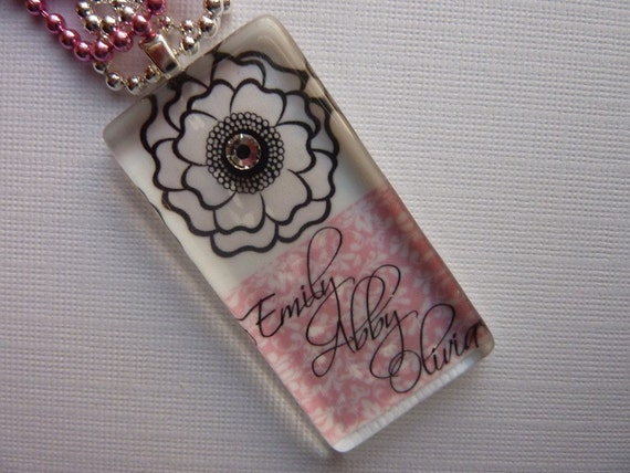 PERSONALIZED Mothers Glass Tile Pendant Necklace