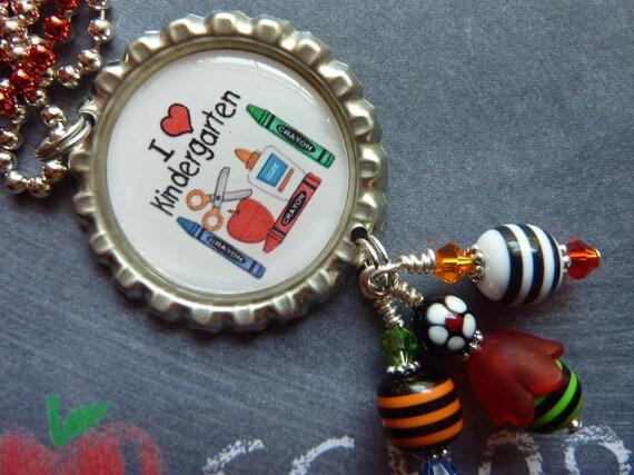 I Love Kindergarten (any grade) Bottle Cap Pendant/Backpack/Zipper Pull